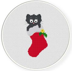 FREE for Dec 4th 2014 Only - Cat In A Stocking Cross Stitch Pattern
