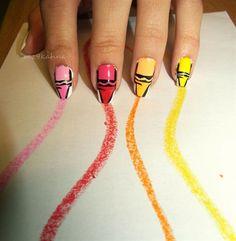 Omg soo cute. Crayon nail art. Ahaha and its cleaver how the crayon marks lead to the nails. Omg soooooooooooo freaking cool!!!:D