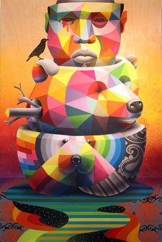 Colorful Geometric Street Art - Street artist Okuda San Miguel has created eccentrically colorful geometric street art pieces that explode with vibrant colors and are comprised of. Murals Street Art, Street Art Graffiti, Illustrations, Illustration Art, Festivals, Sculpture Art, Sculptures, Okuda, Hongkong