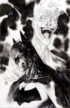 Jim Lee - Finished black and white illustration of Batman and the Joker. To be given to a friend who is auctioning it off for a good cause Comic Book Artists, Comic Book Characters, Comic Artist, Comic Character, Comic Books Art, Jim Lee Batman, I Am Batman, Batman Art, Dc Comics Art