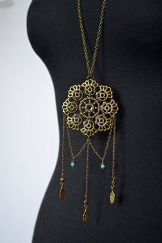 Dreamcatcher Necklace Boho necklace Turquoise necklace by LeOcty