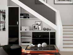 Shelves Under Stairs, Space Under Stairs, Stair Shelves, Staircase Storage, Under Stairs Cupboard, Stair Storage, Home Stairs Design, Interior Stairs, Home Interior Design