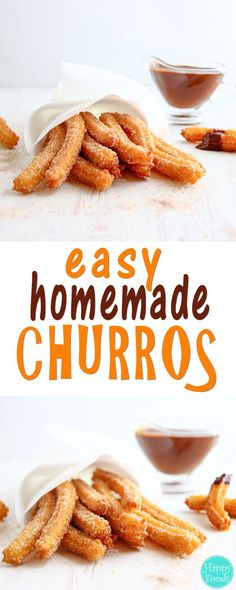 Easy Homemade Churros - Traditional Spanish dessert recipe. They are best served with a cup of really thick chocolate. Yummy ♡ | http://happyfoodstube.com