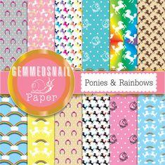 Horse digital paper 'Ponies & rainbows' horse backgrounds, suit baby digital paper too. 12 patterns