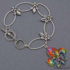 Chunky Crystal Multi Color Fleur De Lis Silver Costume Jewelry Toggle Bracelet | eBay $18.99