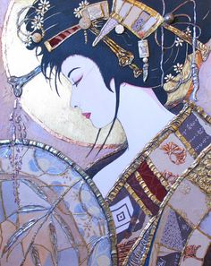 fine artistic geisha art | Artist Sharon Butler, Acrylic and applied materials, Primavera Gallery ...