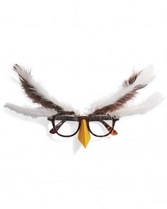 Quick Owl Glasses Costume    This eyeglasses-based costume is fast, fun, and sufficiently understated for the self-conscious. Attach a yellow beak to brown eyeglasses frames, and then brown and ivory feathers near the hinges of the frames