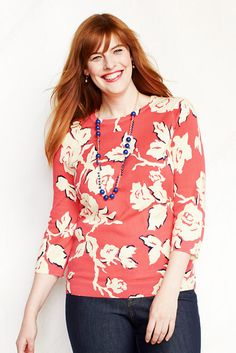 Three-quarter sleeve sweaters are my favorite.  Women's 3/4-sleeve Print Fine Gauge Supima Crewneck from Lands' End