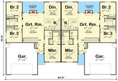 Plan 62610DJ: Modest Ranch Duplex House Plan