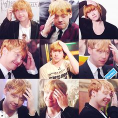 Rupert Grint-classic hand on head poses! Weasley Harry Potter, Harry Potter Actors, Harry Potter World, Hermoine And Ron, Rupert Grint, Celebrity Crush, Actors & Actresses, Ron Ron, Terra