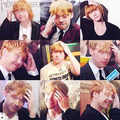 Rupert Grint-classic hand on head poses! Harry Potter Actors, Harry Potter Love, Harry Potter World, Rupert Grint, Gorgeous Eyes, Celebrity Crush, Hogwarts, Actors & Actresses, Ron Ron