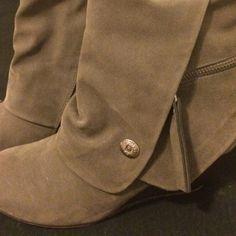 Blowfish Shoes - Blowfish Basha Wedge Boots Grey Faux Suede