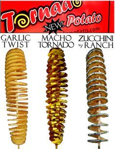 You've got to try these Tornado Potato Skewers! Twist Potato, Spiral Potato, Garlic Twist, Tornado Potato, Food Truck Business, Fish And Chip Shop, Fast Food Menu, Carnival Food, Food Poster Design