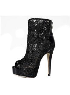 Black Lace Stiletto Heels Peep-toe Women's Boots