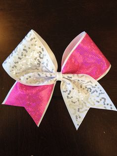 Pink and White tick tock Cheer bow by AnnieBowBannieBows on Etsy