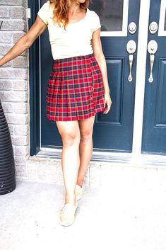 Yellow top with Scottish inspired skort and gold Chauffette Vans shoes