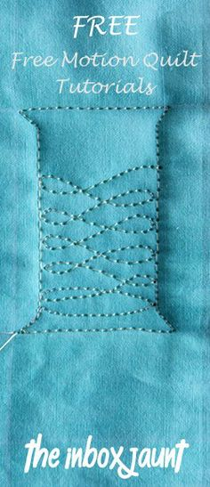 For those who enjoy machine quilting, here's some great Free Motion Motif Tutorials for you! http://theinboxjaunt.com/quilt/free-motion-quilting-tutorials/. Tip: Practice on layered square swatches & then stitch them together using the quilt-as-you-go method*, and you'll have a machine quilting sampler. *You can request free Quilt-as-you-go instructions here: http://www.victorianaquiltdesigns.com/VictorianaQuilters/PatternPage/LovingOurEarth/LovingOurEarthScrapPatchProject.htm