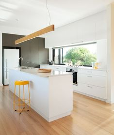 White bench top and cabinets joinery kitchen #archiblox #kitchens:
