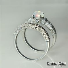 Exceptionnel Black Diamond Engagement Ring And Wedding Band Set In Sterling Silver 39