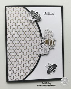 DIY Handmade card featuring the Honey Bee Bundle and Golden Honey Specialty Designer Series Paper from Stampin Up! These are in the new 2020 Mini Catalog and the Designer Series Paper is FREE with a qualifying purchase during Sale-A-Bration! Honey Bee Stamps, Bee Cards, Diy Papier, Stamping Up Cards, Greeting Cards Handmade, Homemade Cards, Bee Products, Making Ideas, Cardmaking