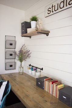 Love this office with industrial farmhouse desk #WorkspaceDreams #UBHOMETEAM #HomeDecorAccessories