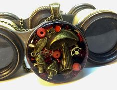 Timeless red Steampunk pendant mushroom necklace toadstool