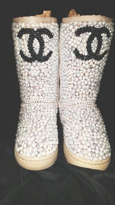 DesginerKisses Pearls and Diamond Specialty Boot Bling Bling UGG Style Boot Bling, Bling Shoes, Bling Bling, Ugg Style Boots, Ugg Boots, Shoe Boots, Louis Vuitton Slides, Louis Vuitton Pattern, Chanel Style Jacket