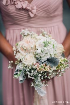 Bridesmaid bouquet with garden roses and babies breath // Flowers by Mimosa