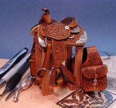 Good Sam Showcase of Miniatures: 1:12th scale miniature leather saddle and saddlebag by Deb Mackie