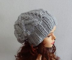 Handmade Knit Cable Hat Beanie Slouchy Hat Beanie Large by Ifonka