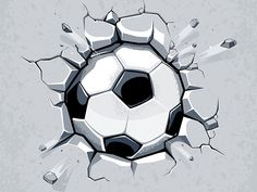 Buy Soccer Ball Breaking the Wall by Vecster on GraphicRiver. Soccer ball breaking the wall. Soccer Tattoos, Football Tattoo, Soccer Art, Soccer Logo, Soccer Poster, Basketball, Football Background, Art Background, Plaster Walls
