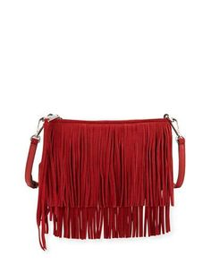 V356A Rebecca Minkoff Finn Fringe Suede Crossbody Bag, Dragon Fruit