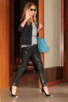 love the cropped leather trousers