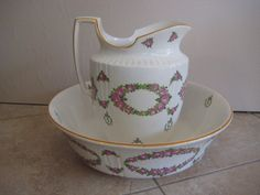 "Large Vintage Mintons Floral England Wash Basin Bowl & Pitcher Set, 16 1/2"" #MINTONS"