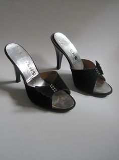 Vintage 1970s Black Faux Suede Mules With Diamantes from Virtual Vintage Clothing