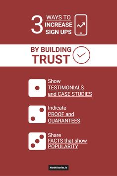 3 / WAYS TO / INCREASE / SIGN UPS / Show / TESTIMONIALS and CASE STUDIES / Indicate / PROOF and GUARANTEES / Share / FACTS that show / POPULARITY / BY BUILDING / TRUST Case Study, Trust, Facts, Signs, Building, Shop Signs, Buildings, Construction, Sign