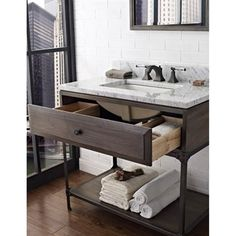 "Fairmont Designs 36"" Toledo Open Shelf Vanity - Driftwood Gray   Free Shipping"