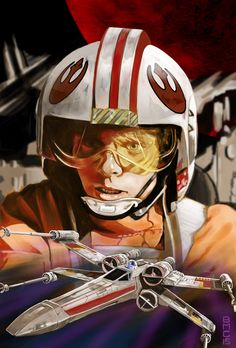 Luke Skywalker - X-wing, Brian McCarrie Star Wars Film, Star Wars Fan Art, Star Wars Jedi, Star Wars Halloween, Star Wars Pictures, Star Wars Images, Star Wars History, Saga, Rian Johnson