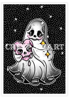 'Spooky Love' A5 Print Set - Creep Heart by Ella Mobbs