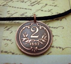 Coin Jewelry  antique Austrian Two Heller by FindsAndFarthings