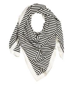 Großes Tuch | Weiß/Schwarz gestreift | Damen | H&M DE
