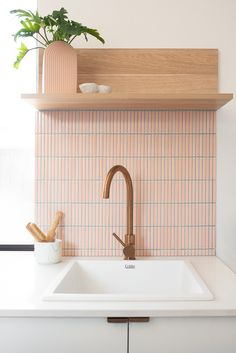 Bathroom Styling, Bathroom Interior Design, Little Big House, Pink Laundry Rooms, Laundry Room Inspiration, Pink Tiles, Charleston Homes, Small Laundry, Larder
