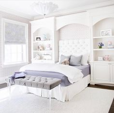 A little girl's sanctuary with gorgeous custom shelves and soft hues of lavenderCredit to @tfiinc... - Home Decor For Kids And Interior Design Ideas for Children, Toddler Room Ideas For Boys And Girls