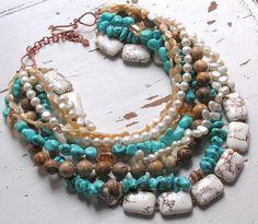 Bead Lover's Torsade - No19/FWPearl, Turquoise, Jasper, Magnesite