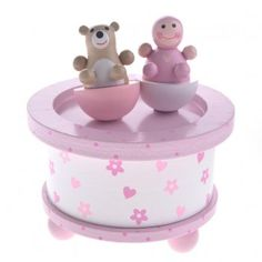 Gisela Graham Baby Girl & Teddy Wooden Music Box