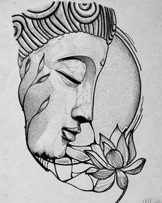 Buddha Tattoos, Buddha Tattoo Design, Tattoo Design Drawings, Art Drawings Sketches Simple, Pencil Art Drawings, Tattoo Sketches, Beautiful Sketches, Cool Drawing Designs, Drawing Ideas