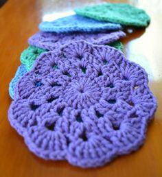 Crochet Coasters || Free Pattern.. I would love to attach them & make a throw