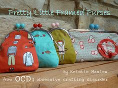Moda Bake Shop: Pretty Little Framed Purses- with instructions and place to buy frames.