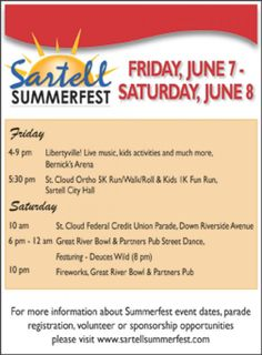 Sartell Summerfest is this Friday & Saturday #CheckItOut