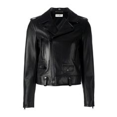SAINT LAURENT Classic Biker Jacket ($3,843) ❤ liked on Polyvore featuring outerwear, jackets, black, straight jacket, biker jacket, black straight jacket, motorcycle jacket and black long sleeve jacket